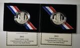 2-PROOF 2011 U.S. ARMY COMMEM HALF DOLLARS