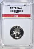 1974-S WASHINGTON QUARTER BGC PERFECT PR DCAM