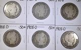 LOT OF 6 BARBER HALF DOLLARS  1907-1908