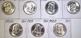 LOT OF 7 FRANKLIN HALF DOLLARS 1953-1957