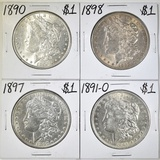 1890, 91-O, 97, 98 MORGAN DOLLARS