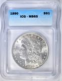 1890 MORGAN DOLLAR ICG MS-65