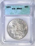 1891 MORGAN DOLLAR ICG MS-62