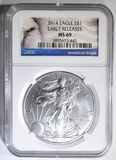 2014 SILVER EAGLE NGC MS-69 EARLY RELEASES