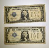 (2) 1928 $1.00 SILVER CERTIFICATES