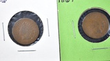 1866 & 67 INDIAN CENTS  GOOD