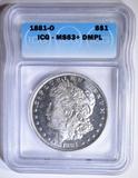 1881-O MORGAN DOLLAR  ICG MS-63+ DMPL