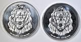 2-2021 NIUE 1oz .999 SILVER LION COINS