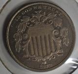 1870 SHIELD NICKEL  CH BU