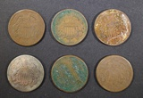 LOT OF 6 2-CENT PIECES  1864-1869.