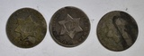 1851, 52, & 53 3-CENT SILVER PIECES.