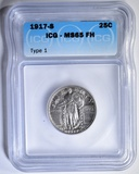 1917-S  T-1 STANDING LIBERTY QUARTER  ICG MS-65 FH