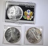 1987 & (2) 1991 AMERICAN SILVER EAGLES