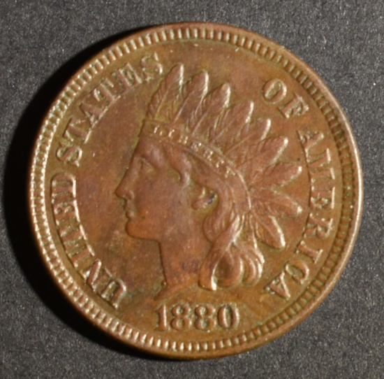 1880 INDIAN HEAD CENT CH BU BN