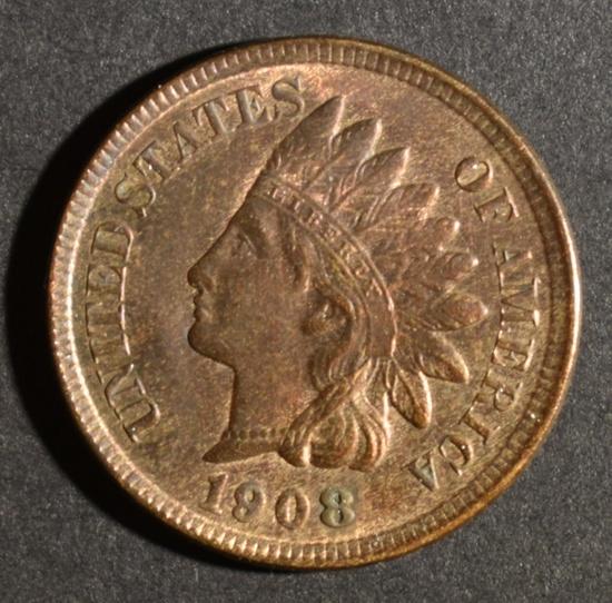 1908 INDIAN HEAD CENT CH BU RB