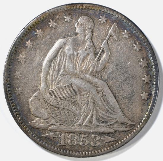 1853 SEATED LIBERTY HALF DOLLAR XF