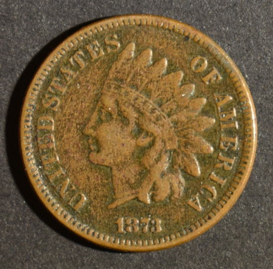 1873 OPEN 3 INDIAN HEAD CENT VF