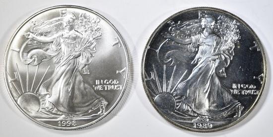 1989 & 1998 BU AMERICAN SILVER EAGLES