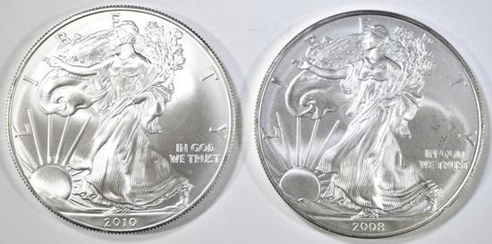 2008 & 2010 BU AMERICAN SILVER EAGLES