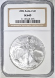 2004 AMERICAN SILVER EAGLE  NGC MS-69