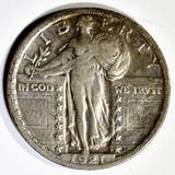 1921 STANDING LIBERTY QUARTER XF+