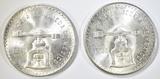 (2) 1980 MEXICO UNA ONZA SILVER COINS