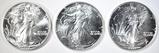 (3) 1988 AMERICAN SILVER EAGLES  SUPERB GEM