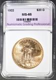 1922 $20 GOLD SAINT GAUDENS NGP GEM BU