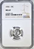 1955 ROOSEVELT DIME NGC MS-67