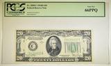 1934 D $20 FRN PCGS 66 PPQ