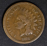 1873 OPEN 3 INDIAN HEAD CENT VG