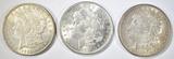 3 1921 MORGAN DOLLARS AU/BU