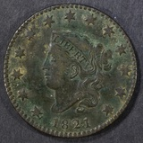 1821 LARGE CENT  VF/XF  ROUGH ON REV