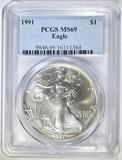 1991 AMERICAN SILVER EAGLE PCGS MS-69