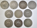 10 MIXED DATE SHIELD NICKELS