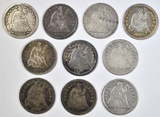10 MIXED DATE SEATED HALF DIMES