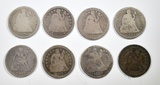8 MIXED DATE SEATED LIBERTY DIMES