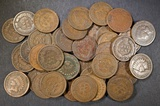 42 MIXED DATE INDIAN HEAD CENTS  G-VG