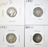 LOT OF 4 MIXED DATE DIMES: