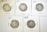 LOT OF 5 MIXED DATE QUARTERS: