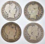 1892, 1893, 1894, 1900 BARBER HALF DOLLARS