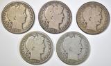 1901, 02, 03-O, 04, 05-S BARBER HALF DOLLARS