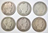 1906-D, 07, 08-O, 08-D, 09, 11 BARBER HALF DOLLARS