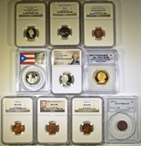 LOT OF 10 MIXED GRADED COINS: