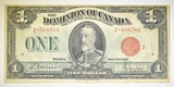 1923 CANADA $1 NOTE  DC 25G  VF