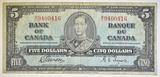 1937 $5 CANADA NOTE  VF+ BC 23B