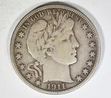 1911-D BARBER HALF DOLLAR  VF