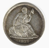 1837 NO STARS SEATED LIBERTY HALF DIME AU