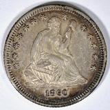 1860-O SEATED LIBERTY QUARTER CH AU