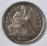 1838 NO DRAPERY SEATED LIBERTY DIME AU/BU